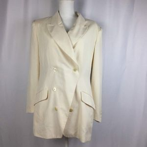 VTG Cream Silk Blazer Button Lightweight Jacket